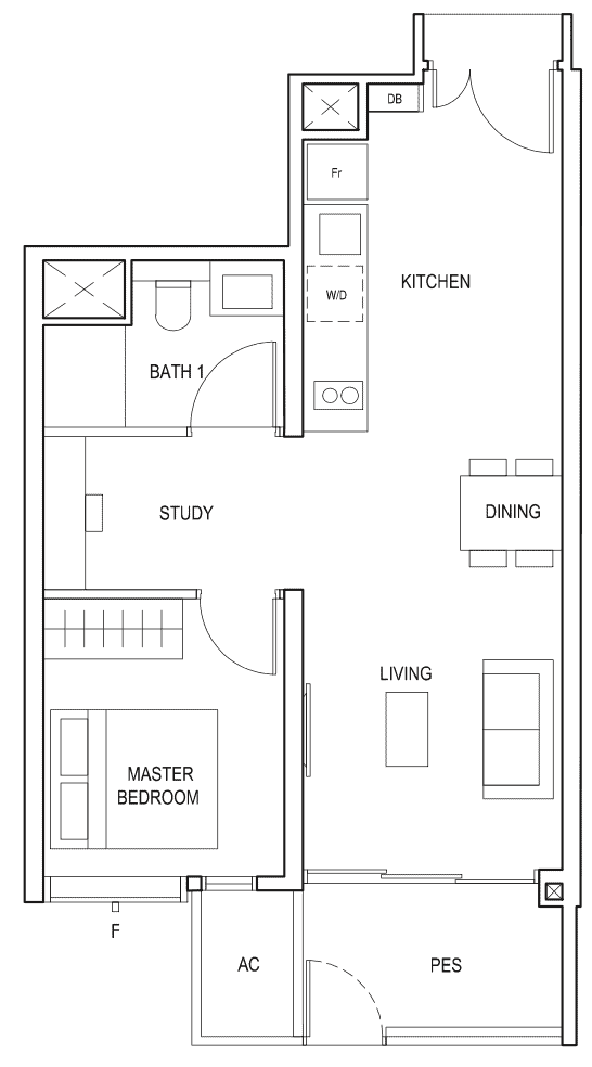 Penrose Floor Plan 1-Bedroom Plus Study Type-1+1a1