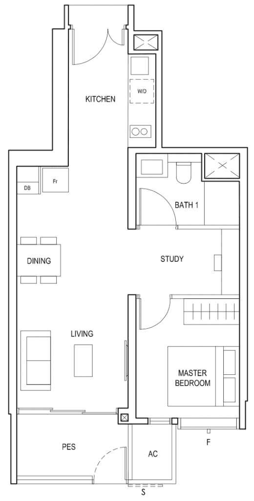 Penrose Floor Plan 1-Bedroom Plus Study Type-1+1b1