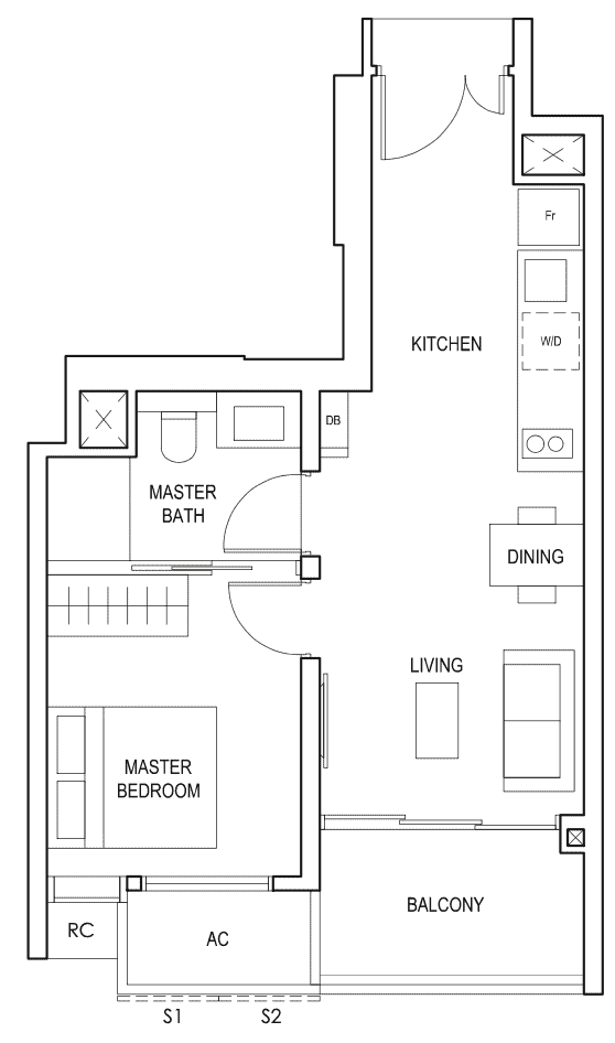 Penrose Floor Plan 1-Bedroom Type-1a