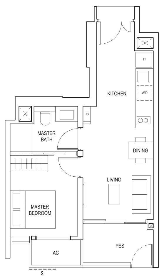 Penrose Floor Plan 1-Bedroom Type-1a1