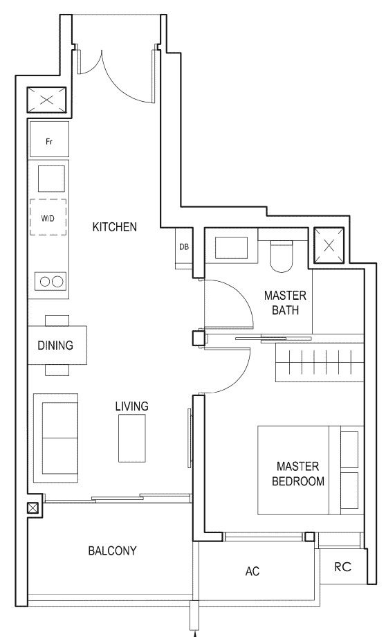 Penrose Floor Plan 1-Bedroom Type-1b