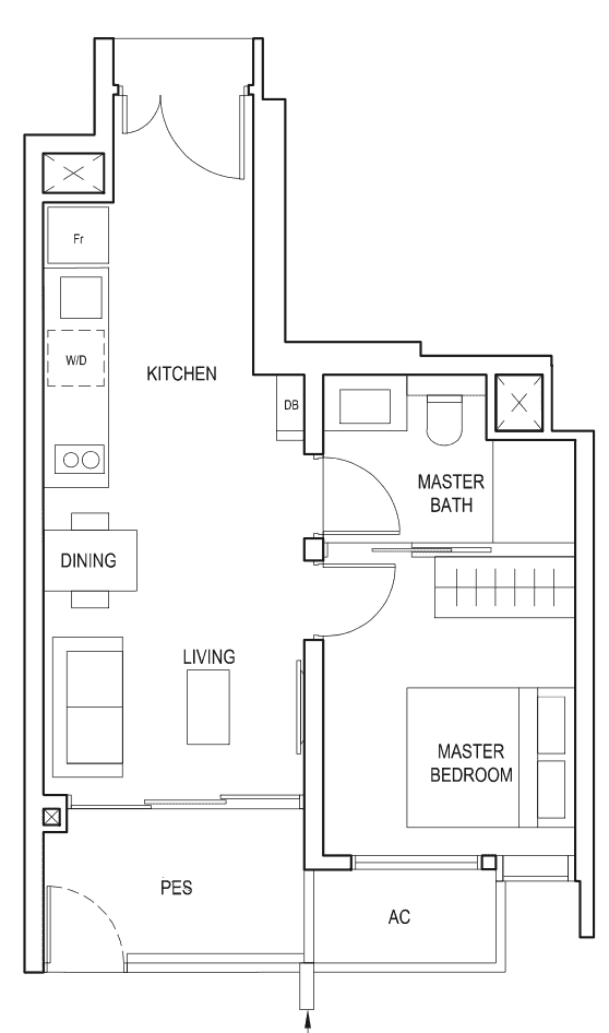 Penrose Floor Plan 1-Bedroom Type-1b1