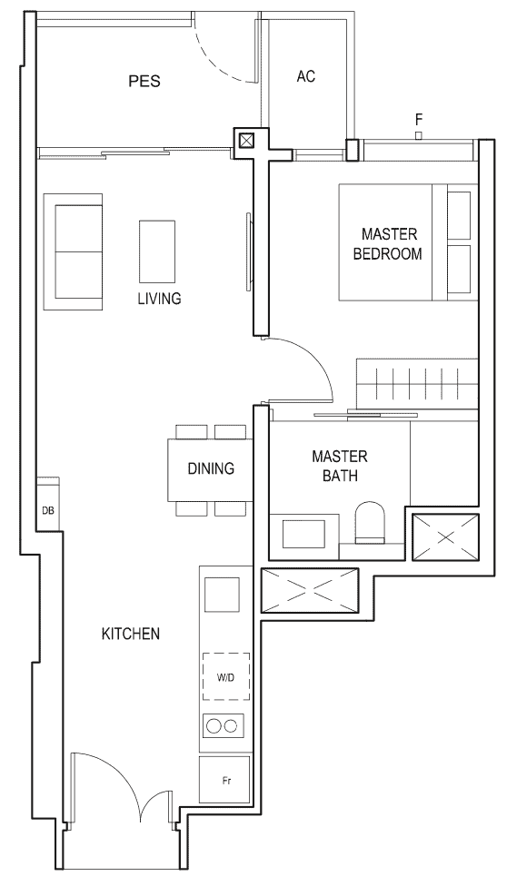 Penrose Floor Plan 1-Bedroom Type-1c1
