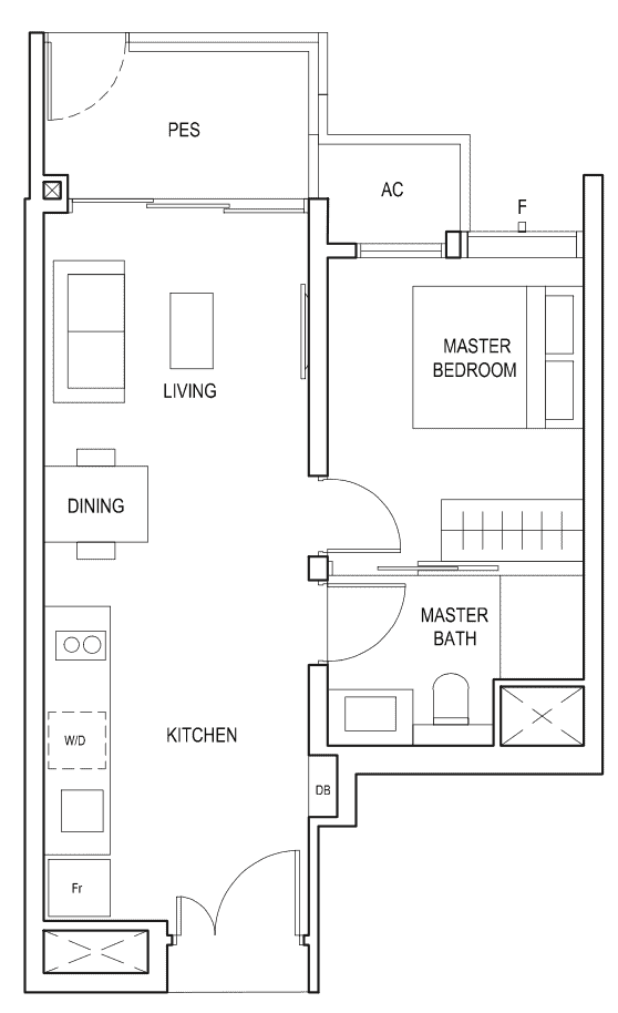 Penrose Floor Plan 1-Bedroom Type-1d1