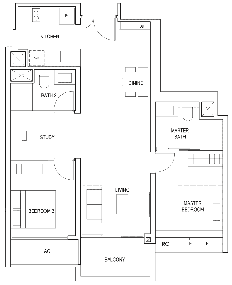 Penrose Floor Plan 2-Bedroom Plus Study Type-2+1a