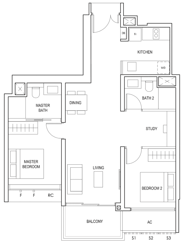Penrose Floor Plan 2-Bedroom Plus Study Type-2+1b
