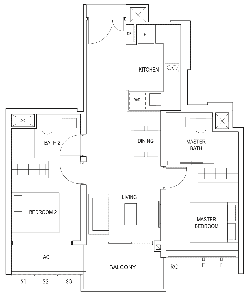 Penrose Floor Plan 2-Bedroom Premium Type-2pa