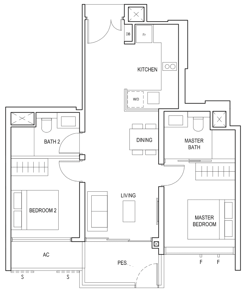 Penrose Floor Plan 2-Bedroom Premium Type-2pa1