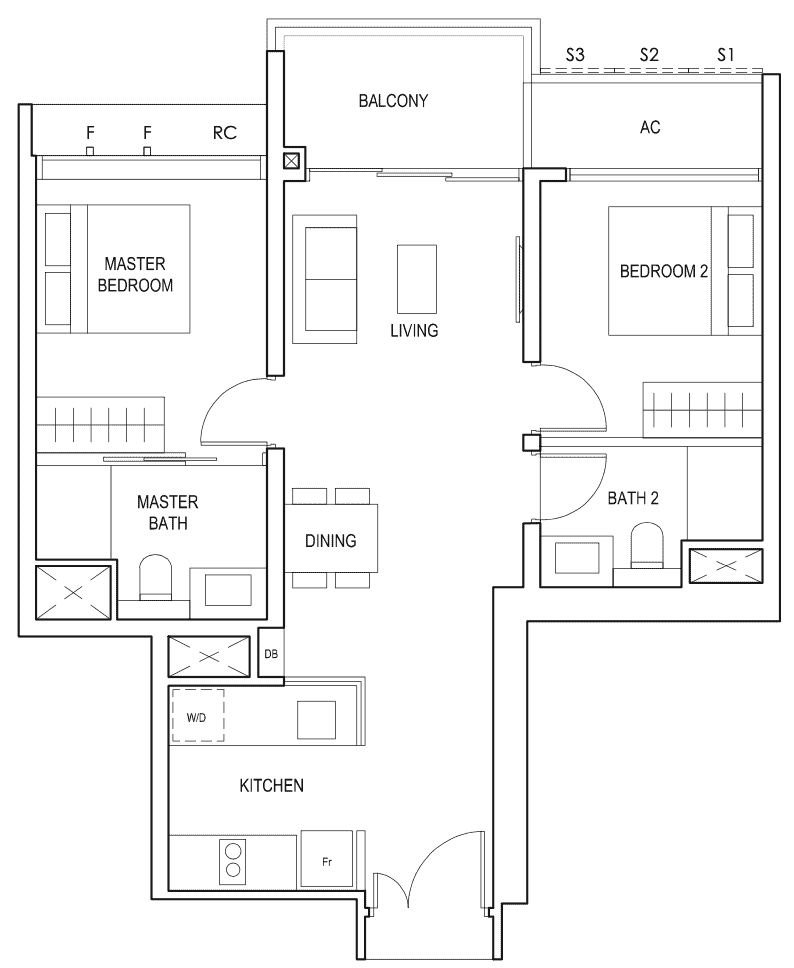 Penrose Floor Plan 2-Bedroom Premium Type-2pb
