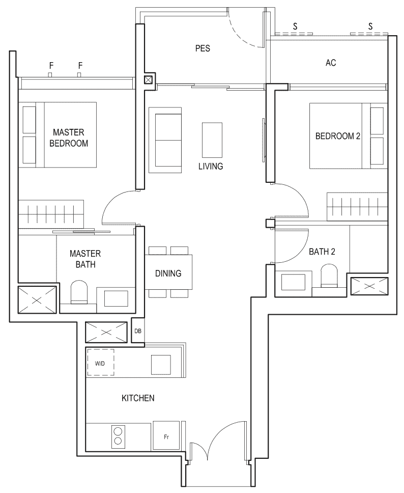 Penrose Floor Plan 2-Bedroom Premium Type-2pb1