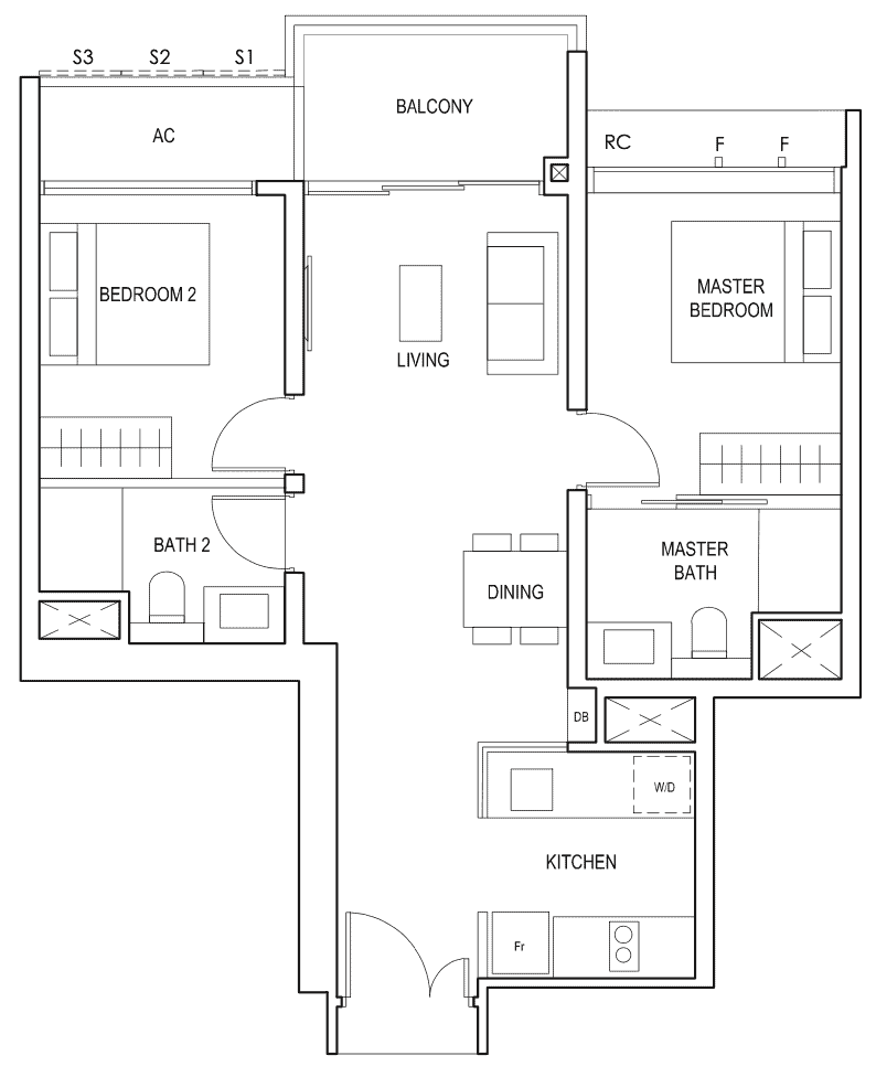 Penrose Floor Plan 2-Bedroom Premium Type-2pb2