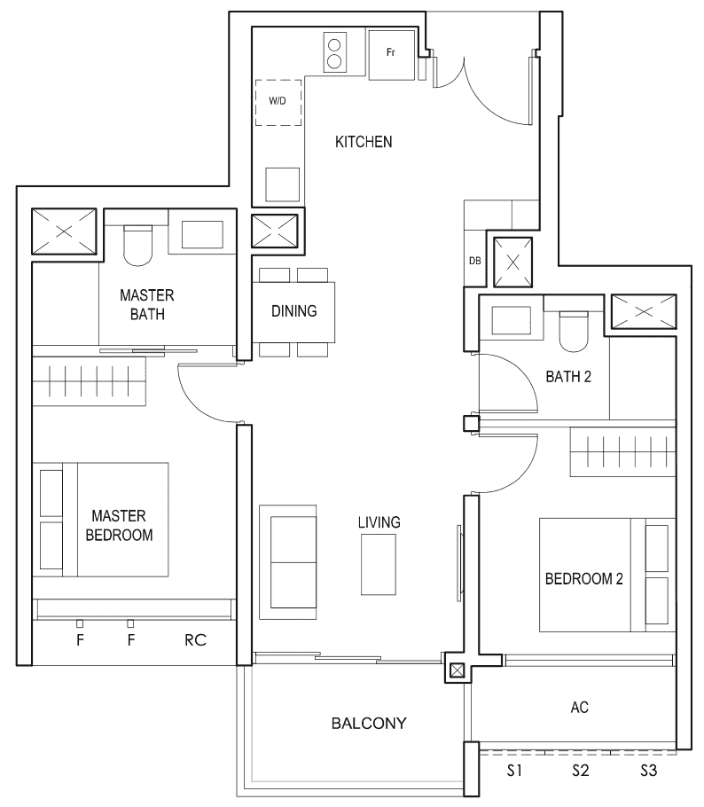 Penrose Floor Plan 2-Bedroom Premium Type-2pc