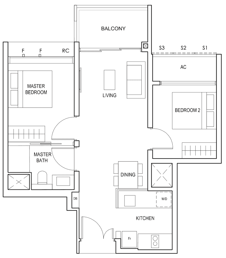 Penrose Floor Plan 2 Bedroom Type 2a