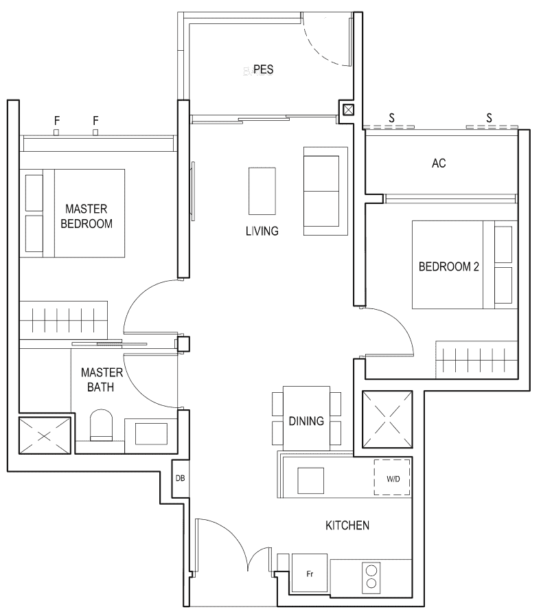 Penrose Floor Plan 2-Bedroom Type 2a1