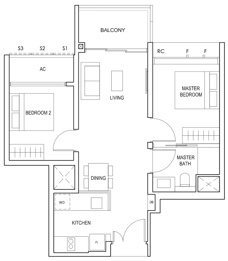 Penrose Floor Plan 2-Bedroom Type 2a