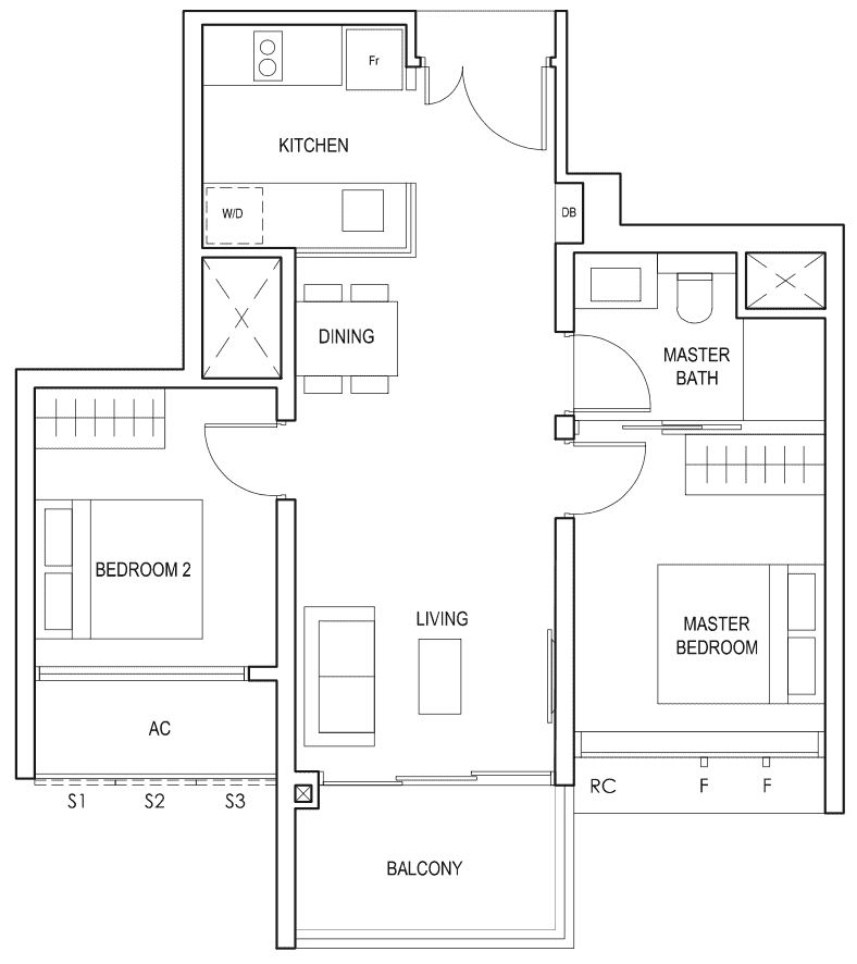 Penrose Floor Plan 2-Bedroom Type 2b