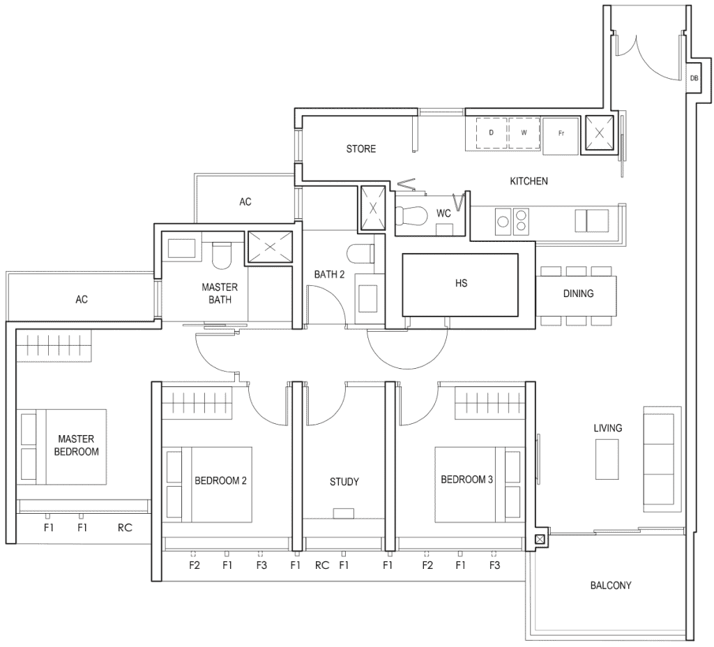 Penrose Floor Plan 3-Bedroom Plus Study Type-3+1a