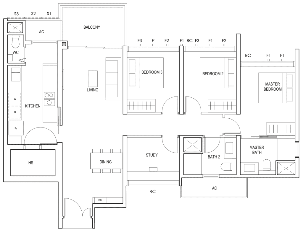 Penrose Floor Plan 3-Bedroom Plus Study Type-3+1b