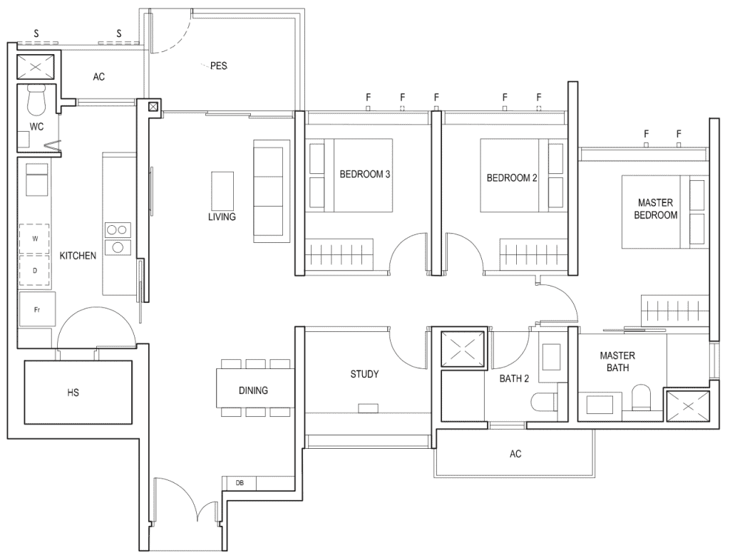 Penrose Floor Plan 3-Bedroom Plus Study Type-3+1b1