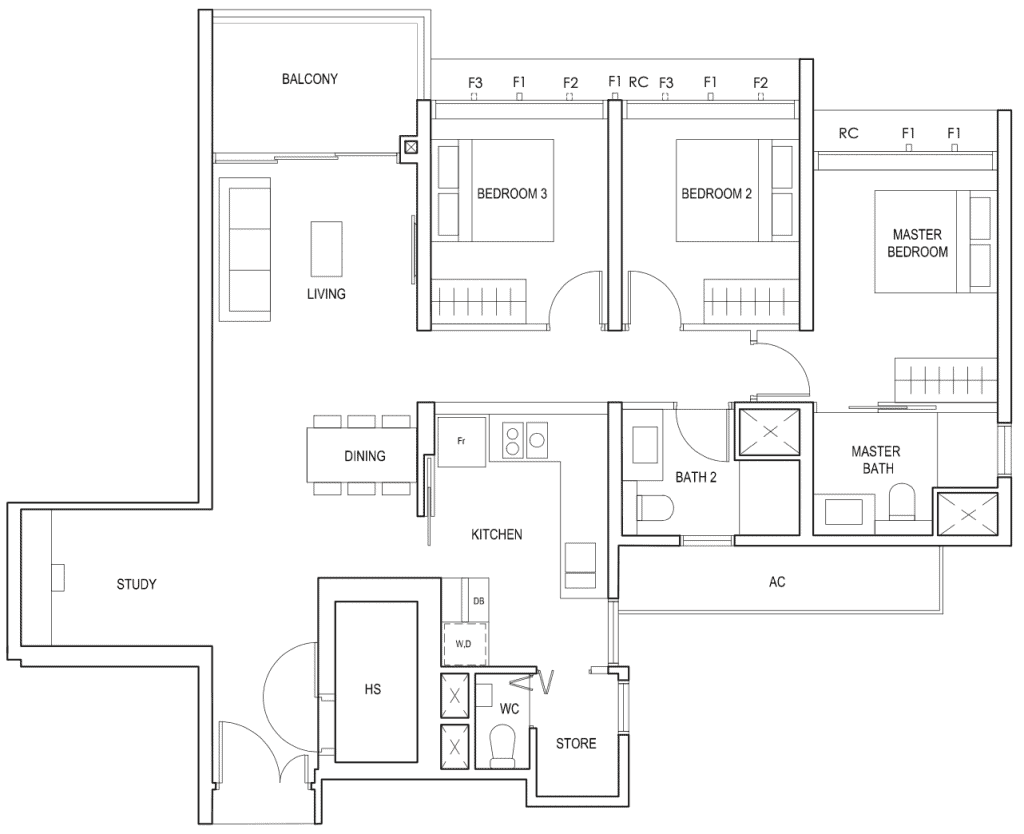Penrose Floor Plan 3 Bedroom Plus Study Type 3plus1c