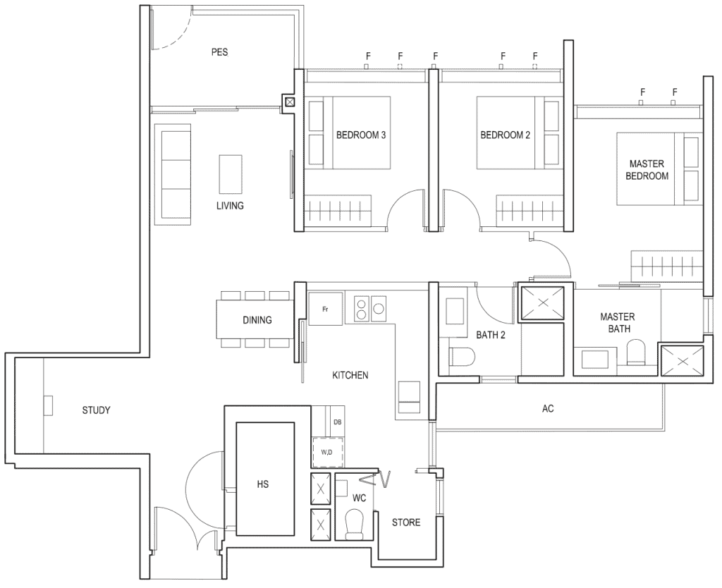 Penrose Floor Plan 3-Bedroom Plus Study Type-3+1c1