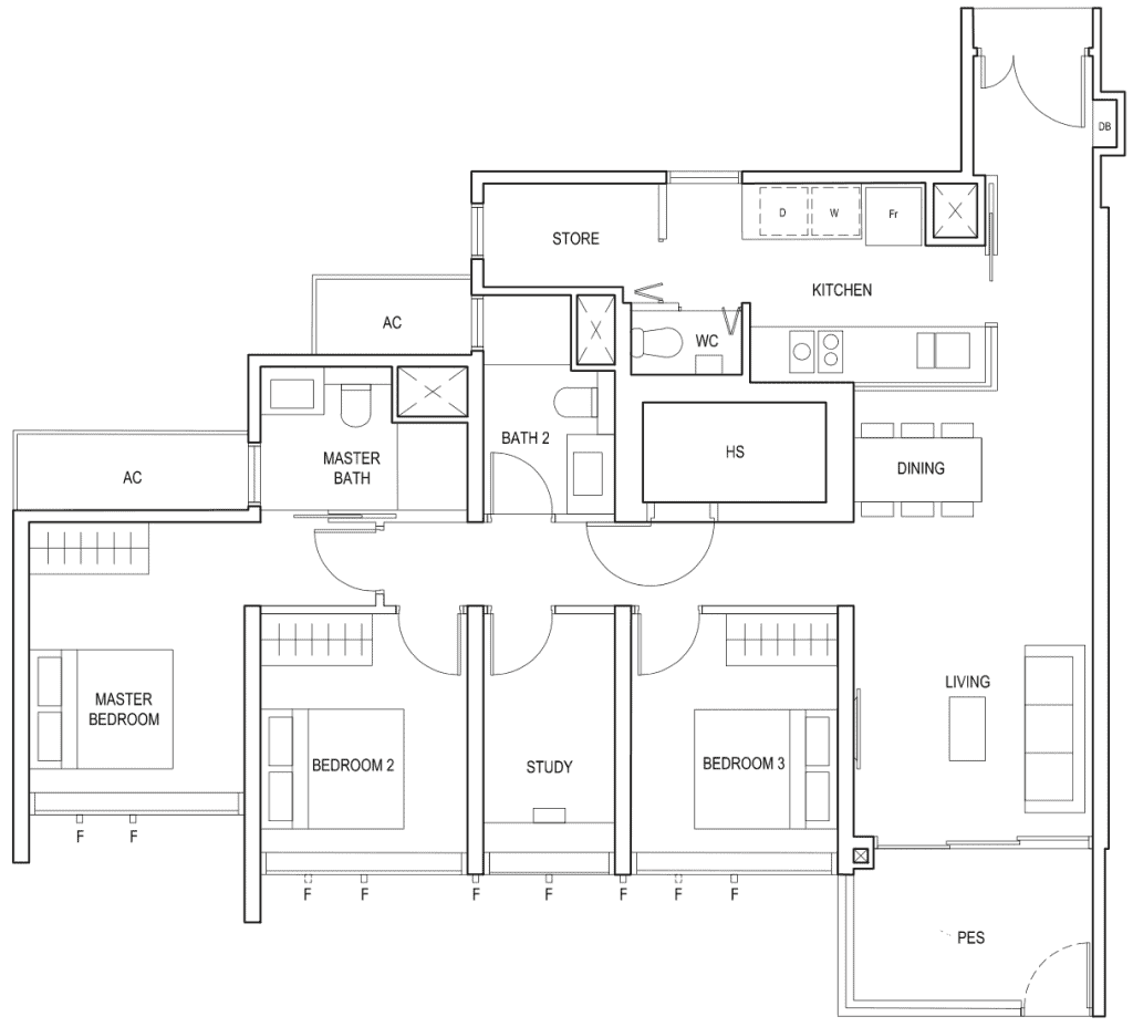 Penrose Floor Plan 3 Bedroom Plus Study Type 3plusa1