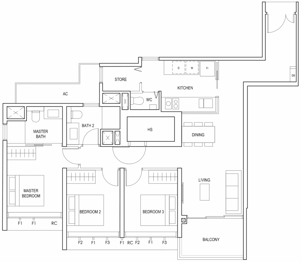 Penrose Floor Plan 3-Bedroom Premium Type-3Ya