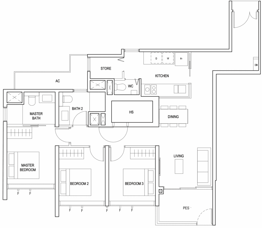Penrose Floor Plan 3-Bedroom Premium Type-3Ya1
