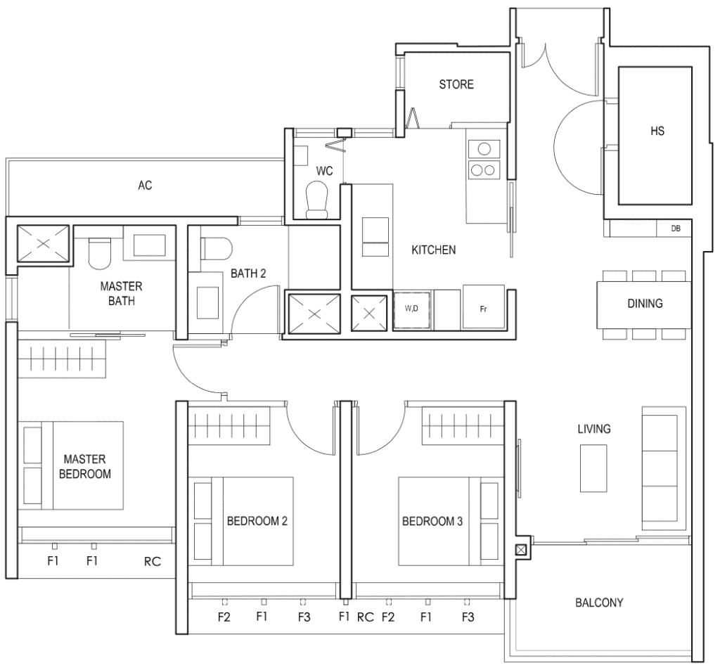 Penrose Floor Plan 3-Bedroom Premium Type-3Yb