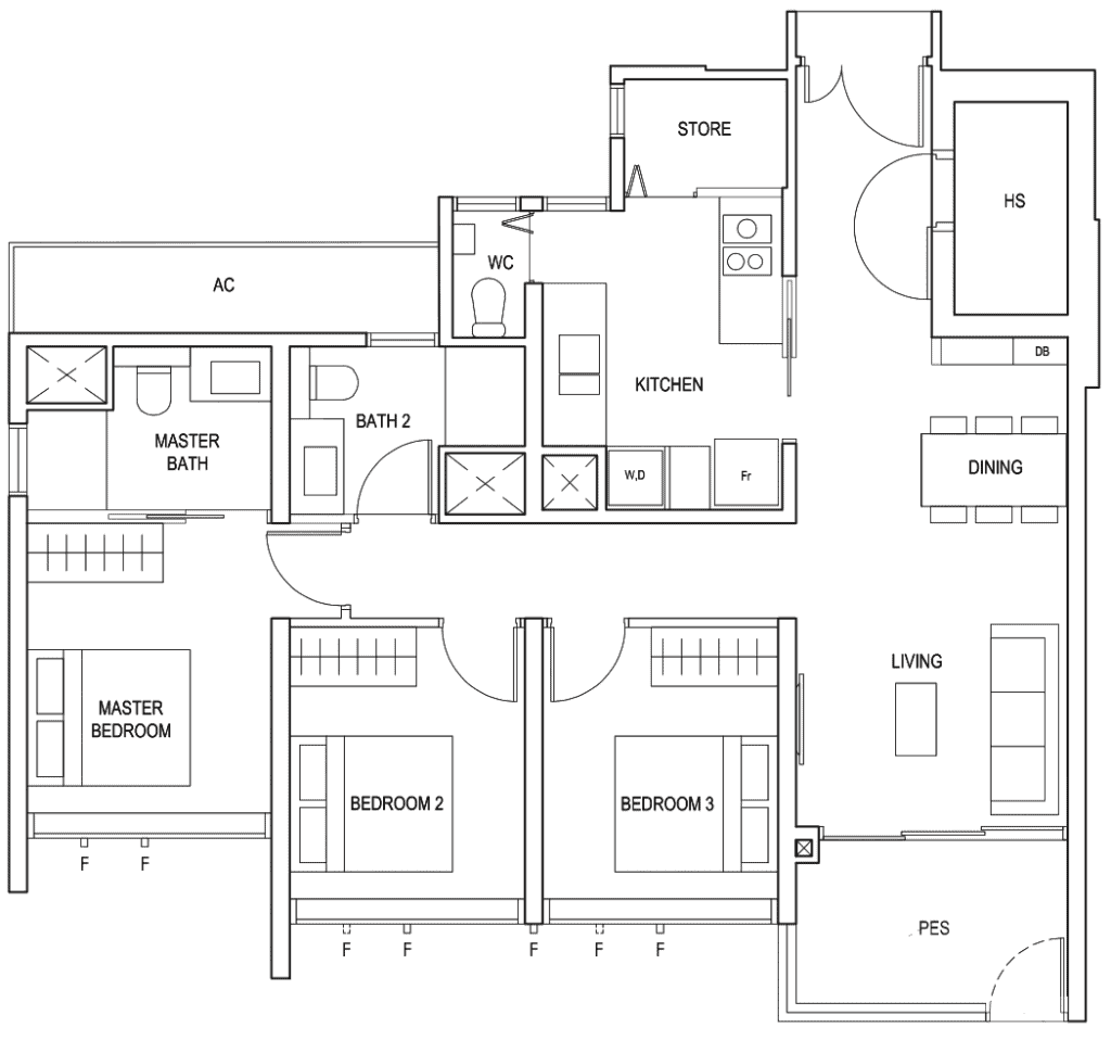 Penrose Floor Plan 3 Bedroom Premium Type 3Yb1
