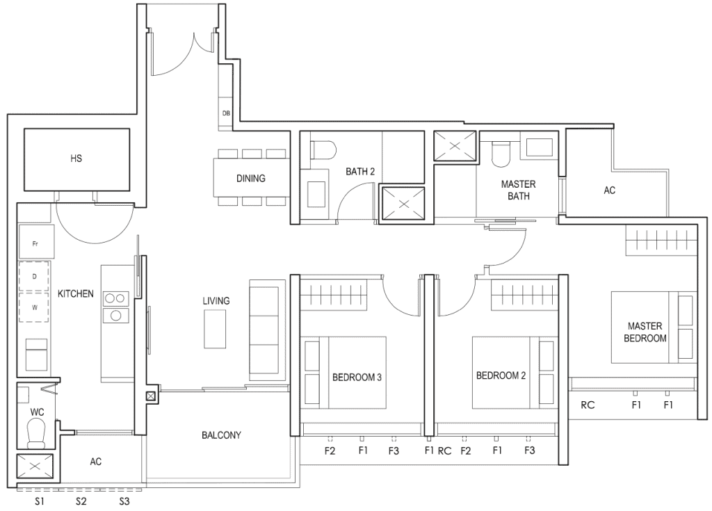 Penrose Floor Plan 3 Bedroom Premium Type 3Yc