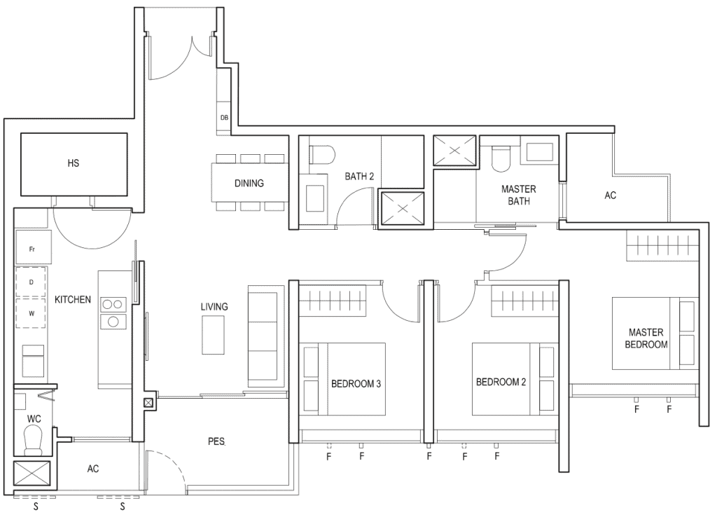 Penrose Floor Plan 3 Bedroom Premium Type 3Yc1