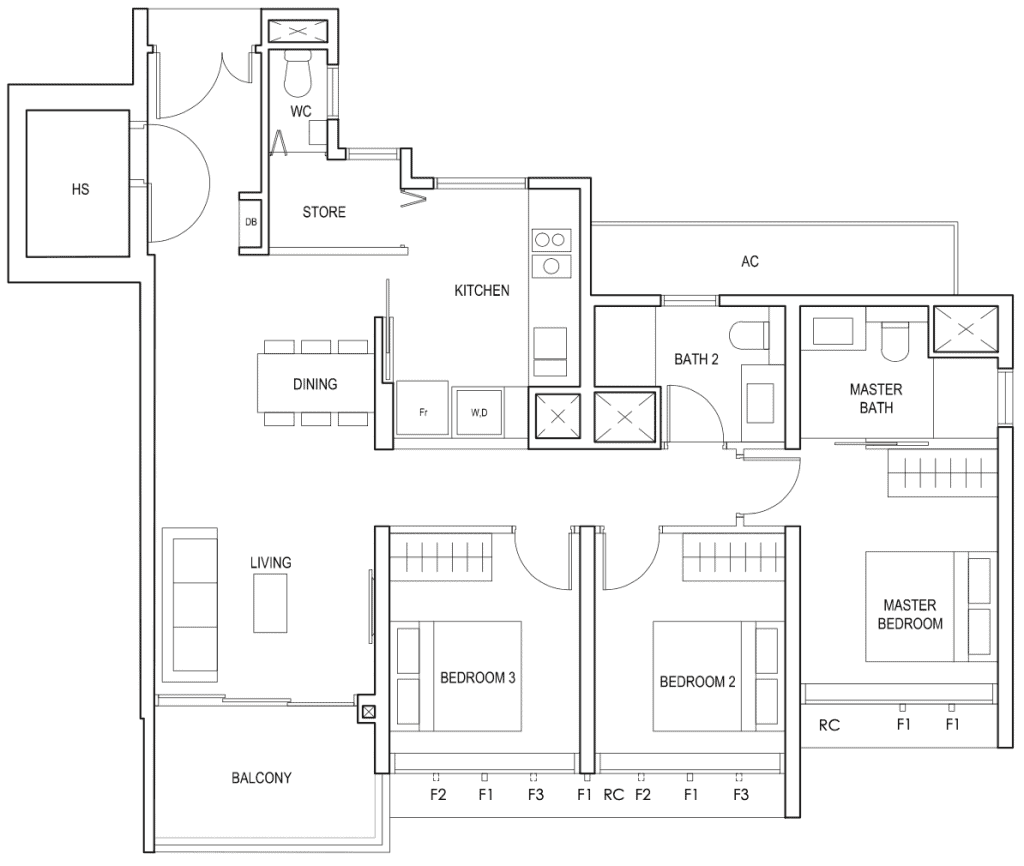 Penrose Floor Plan 3-Bedroom Premium Type-3Yd