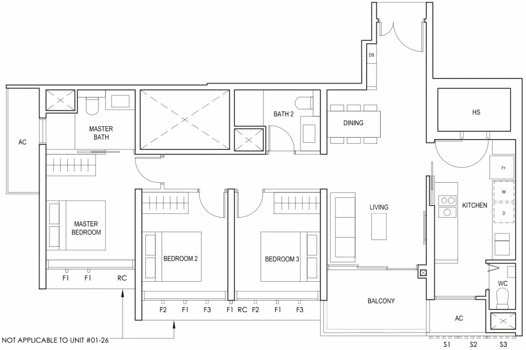 Penrose Floor Plan 3 Bedroom Premium Type 3Ye