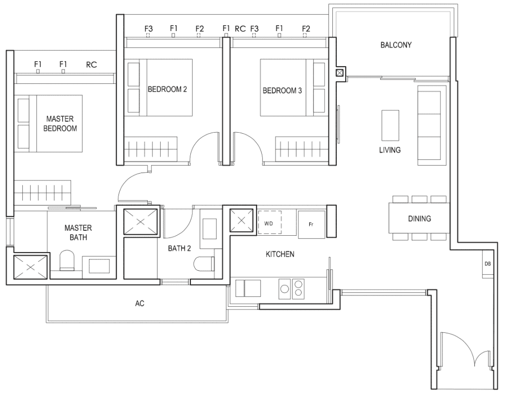 Penrose Floor Plan 3-Bedroom Type-3a