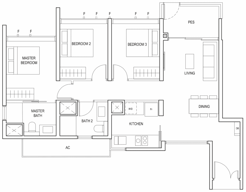 Penrose Floor Plan 3-Bedroom Type-3a1