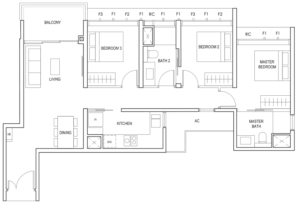 Penrose Floor Plan 3 Bedroom Type 3b