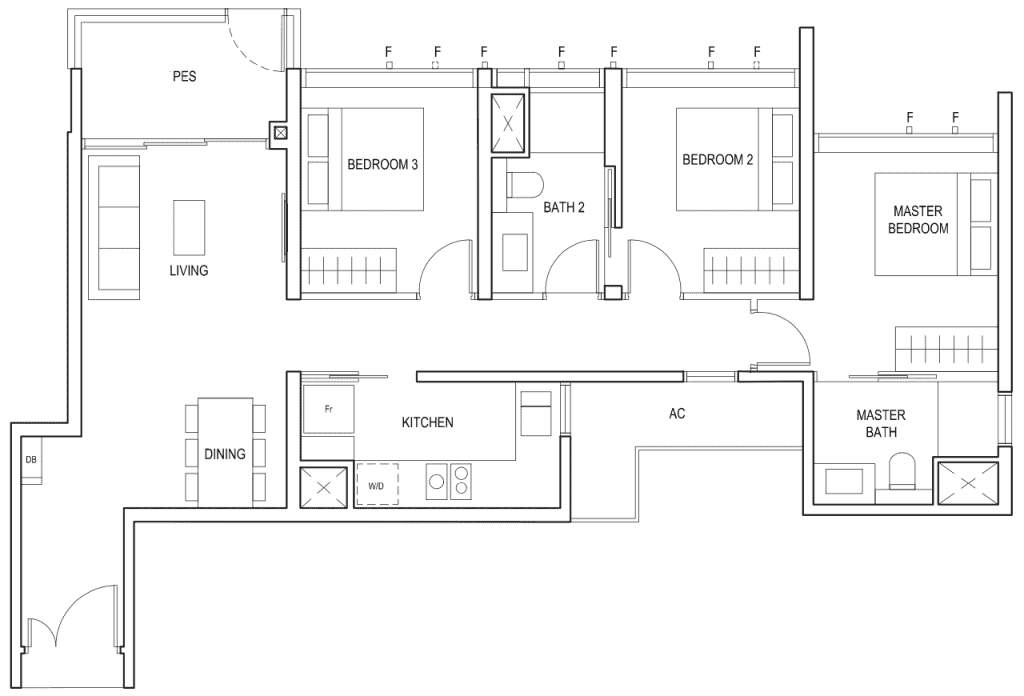 Penrose Floor Plan 3-Bedroom Type-3b1-2