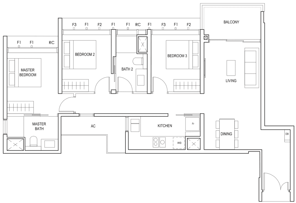 Penrose Floor Plan 3 Bedroom Type 3c