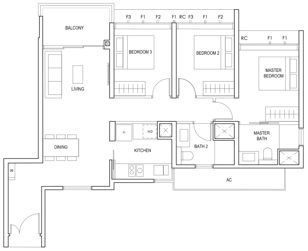 Penrose Floor Plan 3 Bedroom Type 3d