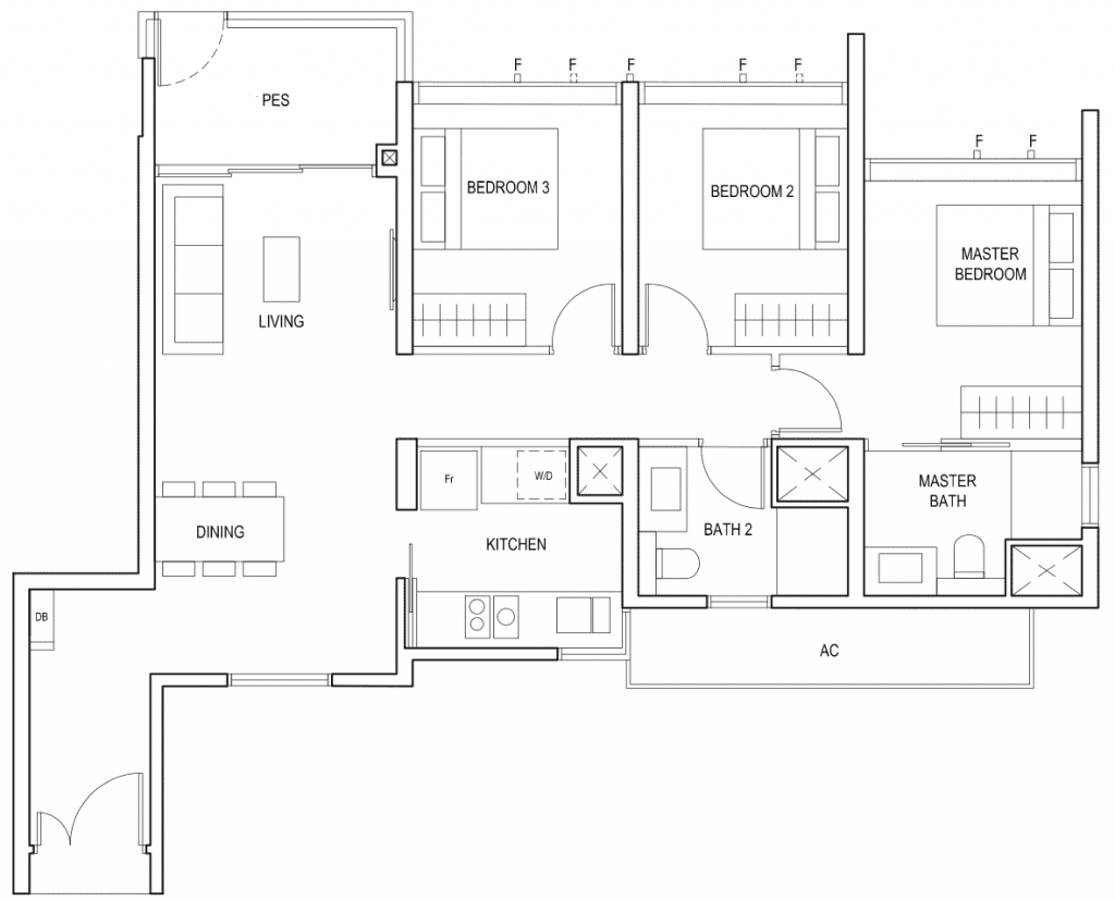 Penrose Floor Plan 3-Bedroom Type-3d1