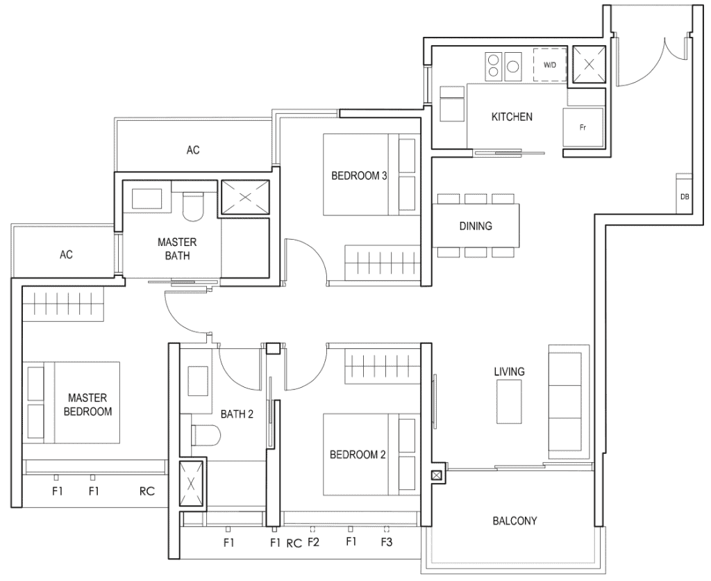 Penrose Floor Plan 3 Bedroom Type 3e
