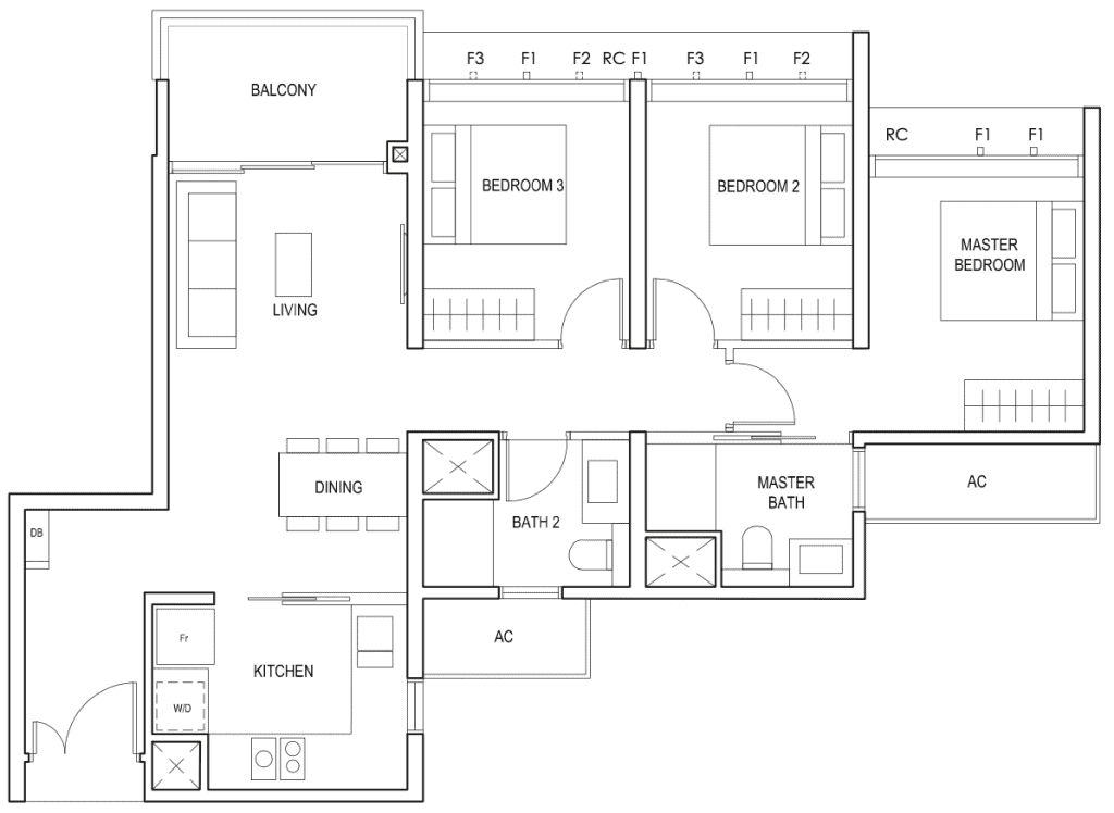 Penrose Floor Plan 3-Bedroom Type-3f