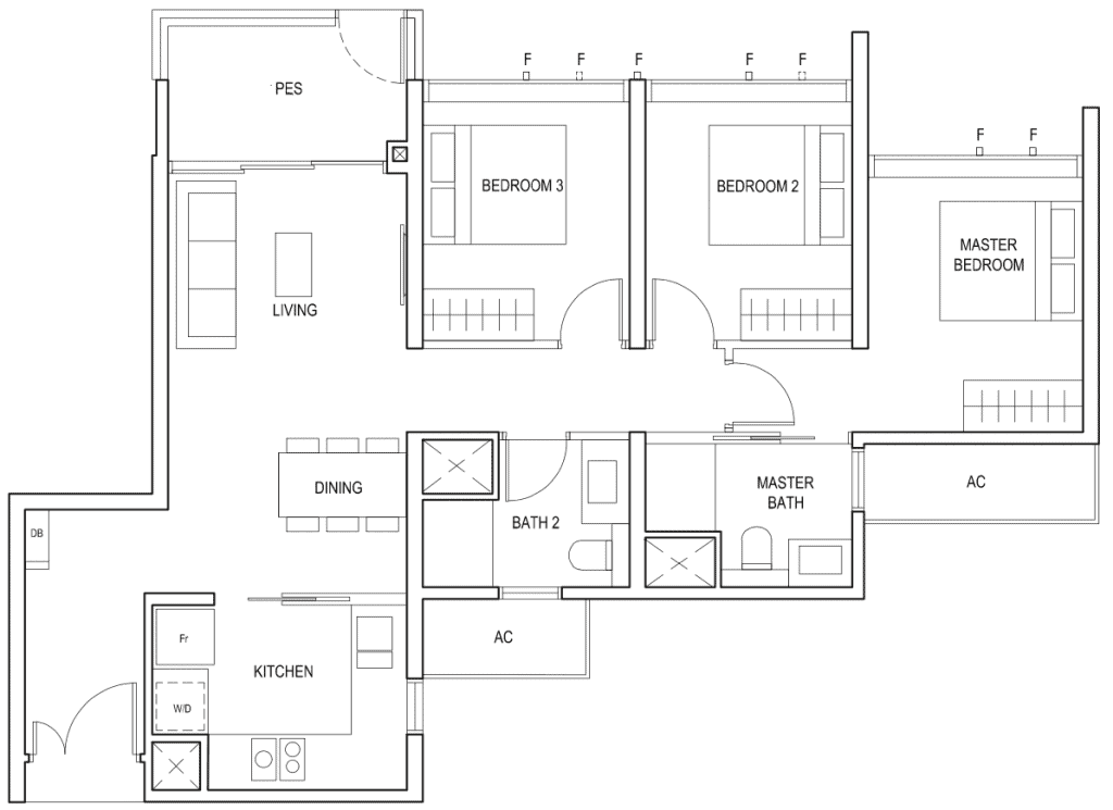 Penrose Floor Plan 3-Bedroom Type-3f1