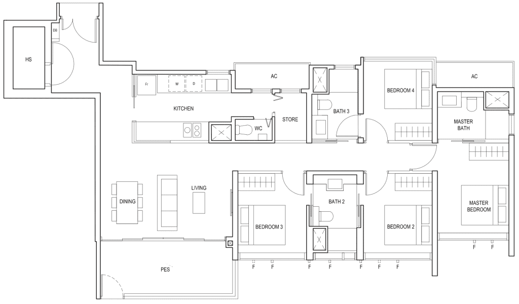 Penrose Floor Plan 4-Bedroom Type-4a1