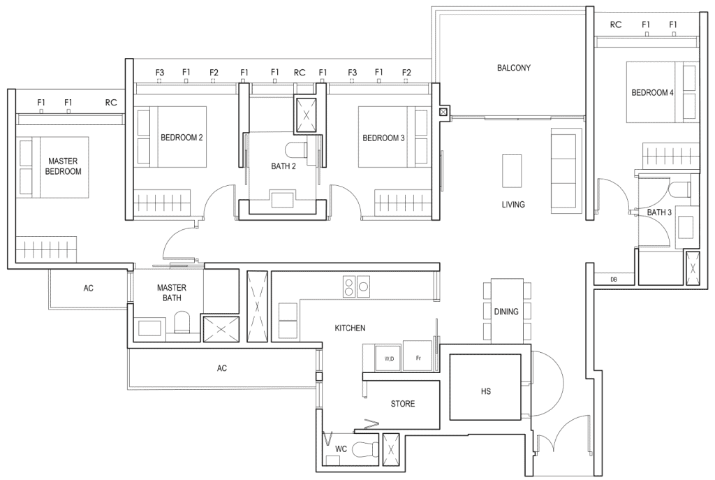 Penrose Floor Plan 4-Bedroom Type-4b