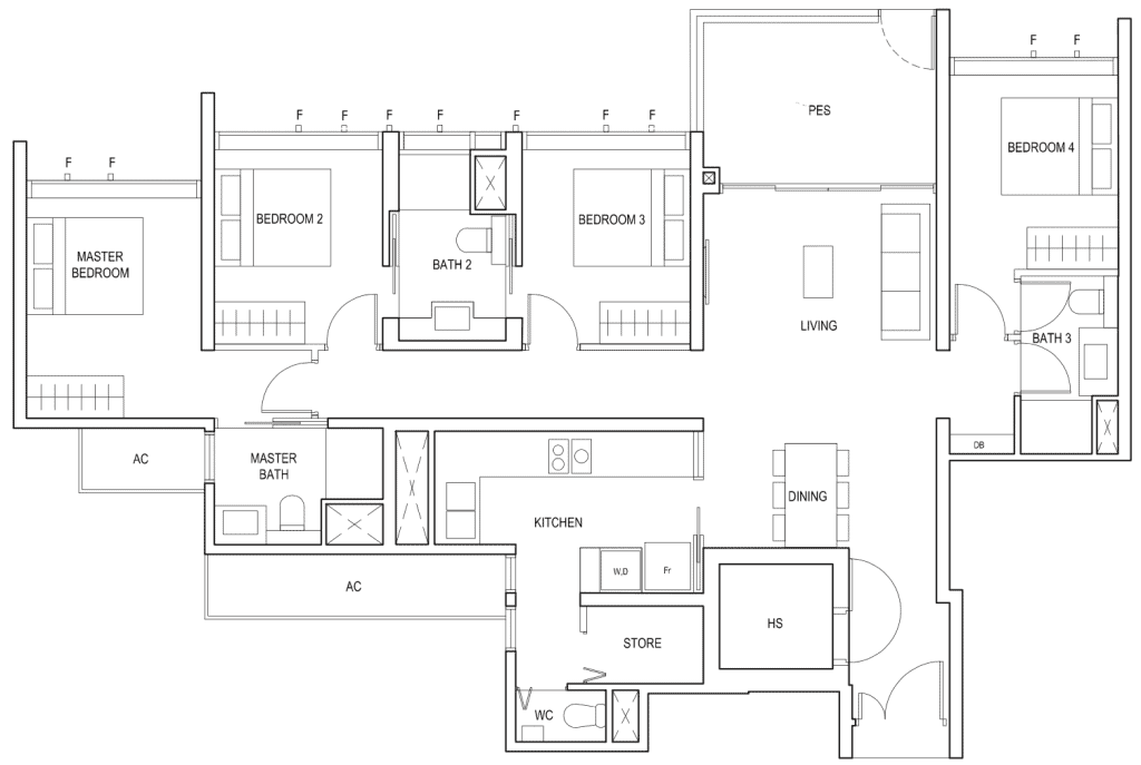 Penrose Floor Plan 4 Bedroom Type 4b1